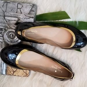 Kate Spade Patent leather Flats w/Gold Trim  NWOT